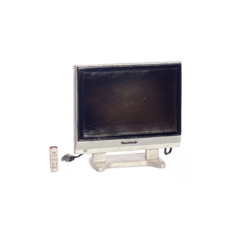 Dollhouse Miniatures Tv: 36in Widescreen Tv/remote