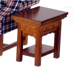 Carved End Table/Walnut