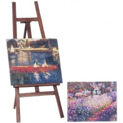 Easel w/2 Canvas Paintngs