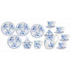 15Pc Dinner Set-Blue Floral