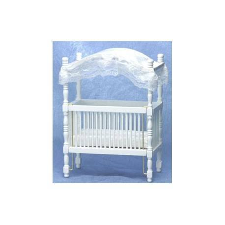 Miniature canopy crib dollhouse nursery furniture for White canopy crib