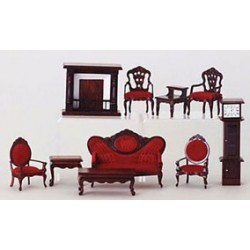 Mahogany Victorian Living Room Set 10 Piece