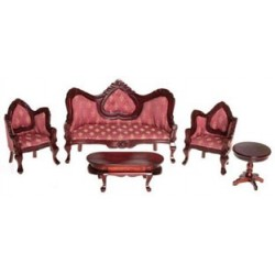 Victorian Mahogany Rose Living Room Set