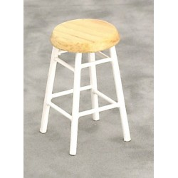 Bar Stool/white w/oak/cb