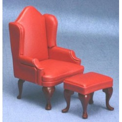 Red Arm Chair with Ottoman