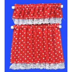 Red Nursery Hearts Cottage Curtains