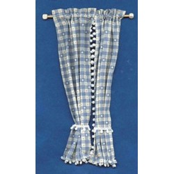 Miniature Blue Plaid Country Curtains