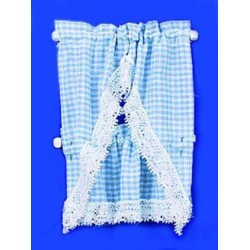 Gingham Blue Kitchen Curtain