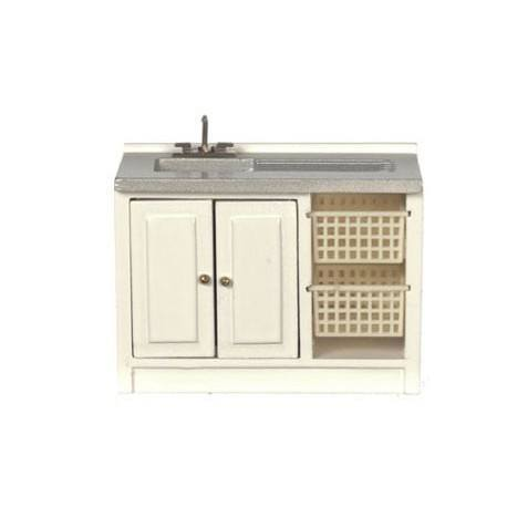 Modern Laundry Sink, White/Cb