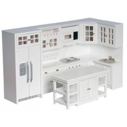 Kitchen Set, 8 Pc, White/Cb