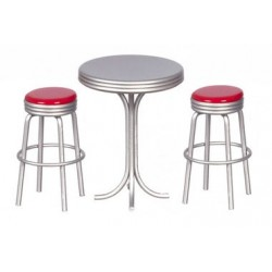 Tall Table W/2 Red Stools