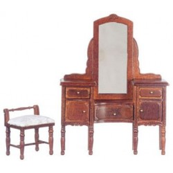 Vanity W/Stool/Walnut