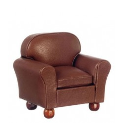 Club Chair, Brown Leather