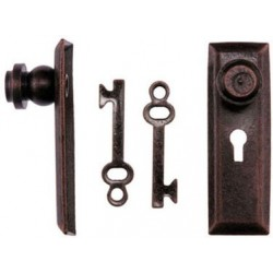 Door Knob W/Key Plate, 2/Pk, Oil Rubbed Bronze