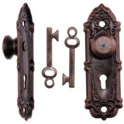 Opryland Door Handle Set W/Key, Or Bronze 2/Pk