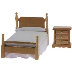 Bed & Night Stand, Oak