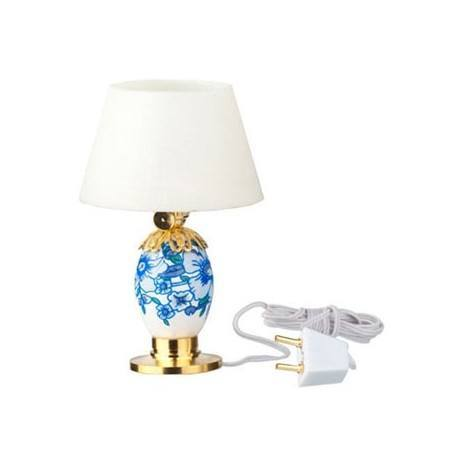 Porcelain table lamp blue white 12v dollhouse for 12v table lamp