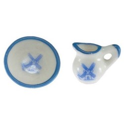 Pitcher & Bowl, White/Blue, 2pc
