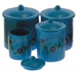 Blue Canister Set with Decals, 4pc