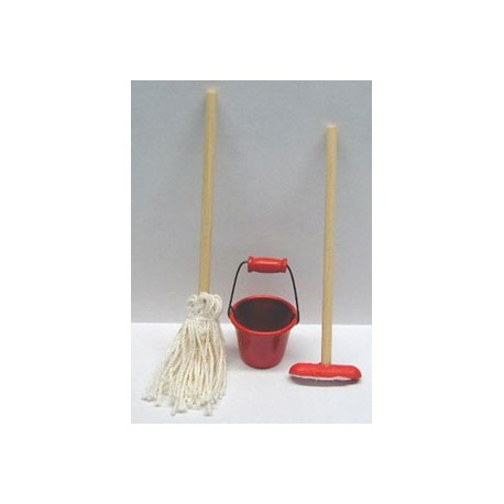 Cleaning Set with Red Bucket