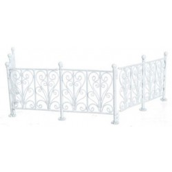 Wrought Iron Fence, White, 6Pc