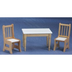 Oak & White Table & Chairs