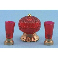 CANDY DISH W/VASES, 3PC SET