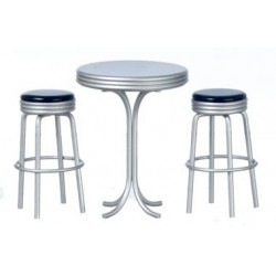 Tall Table W/2 Stools, Black