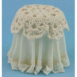 LACE TOP SKIRTED TABLE, IVORY
