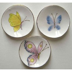 3 Pastel Butterfly Plates