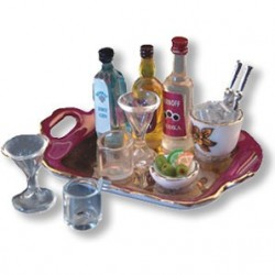 Liquor Tray W/Glasses & Ice