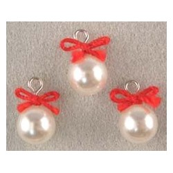 SSN: 3 WHITE ORNAMENTS W/RED BOW