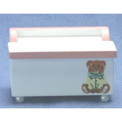 White & Pink Toy Chest with Decal
