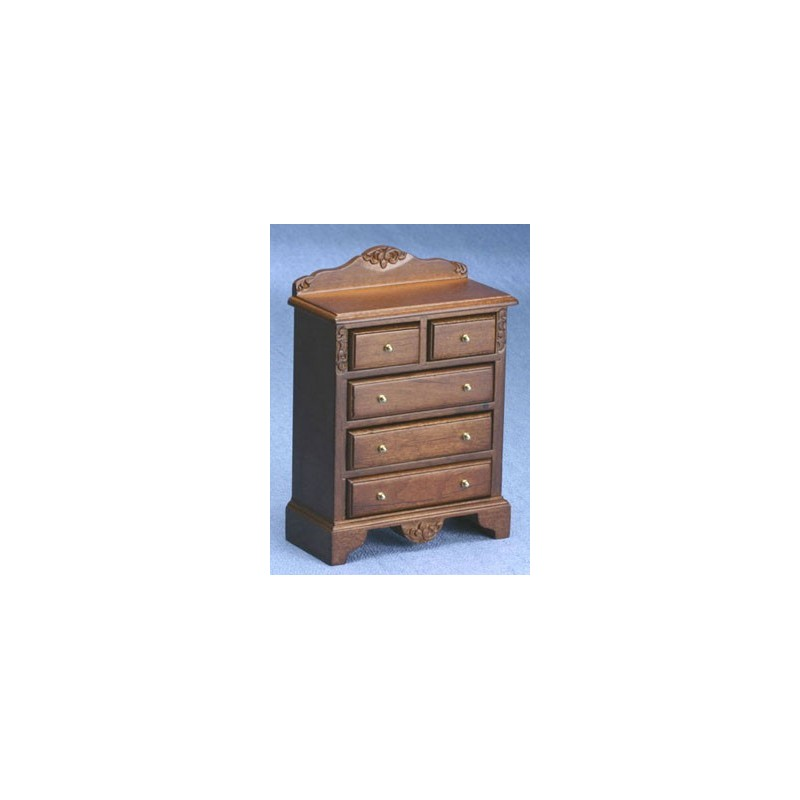 Miniature Walnut Chest Of Drawers Dollhouse Bedroom