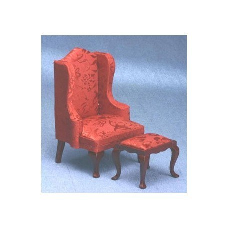 queen anne red wing back chair with ottoman
