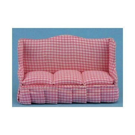 Miniature Pink Country Charm Sofa | Dollhouse Living Room Furniture ...