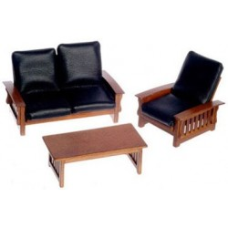SOFA, CHAIR, TABLE, BLACK, WALNUT