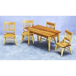 KITCHEN TABLE & CHAIRS SET/5, OAK