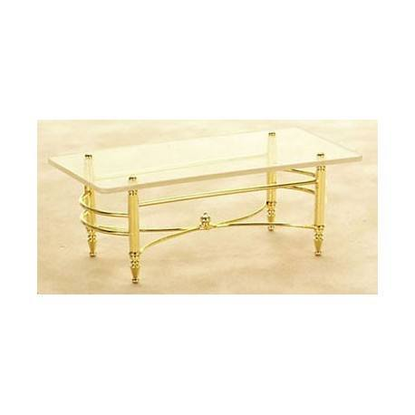 Brass Glass Coffee Table Miniature Living Room Furniture