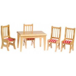 KITCHEN TABLE & CHAIRS 5PC OAK