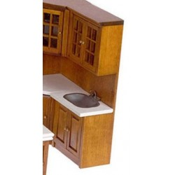 CABINET W/SINK, WALNUT, WHITE
