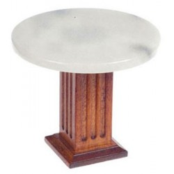 ROUND MARBLE TOP TABLE, WALNUT