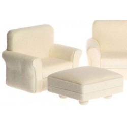 Classic White Living Room Chair & Ottoman