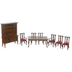 DINING ROOM SET, 8PC, RED/WALNUT