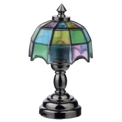 LED NICKEL TIFFANY TABLE LAMP