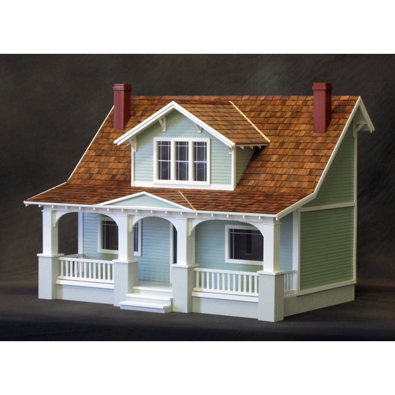 Classic bungalow dollhouse kit milled mdf dollhouses for Bungalow kit