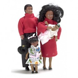 4pc Black Doll Family Modern