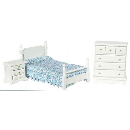 3 Pc Bedroom Set/white/cs