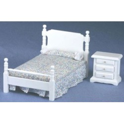 White Bed and Night Stand Set