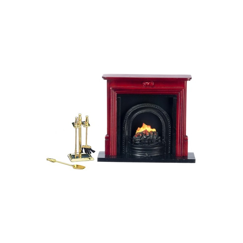 Fireplace Amp Accessories Set 6pc Dollhouse Miniature